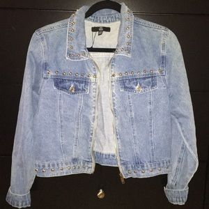 Misguided Denim Jacket with studded detail